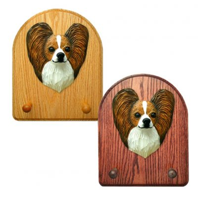 Papillon Dog Wooden Oak Key Leash Rack Hanger Brown/White 1