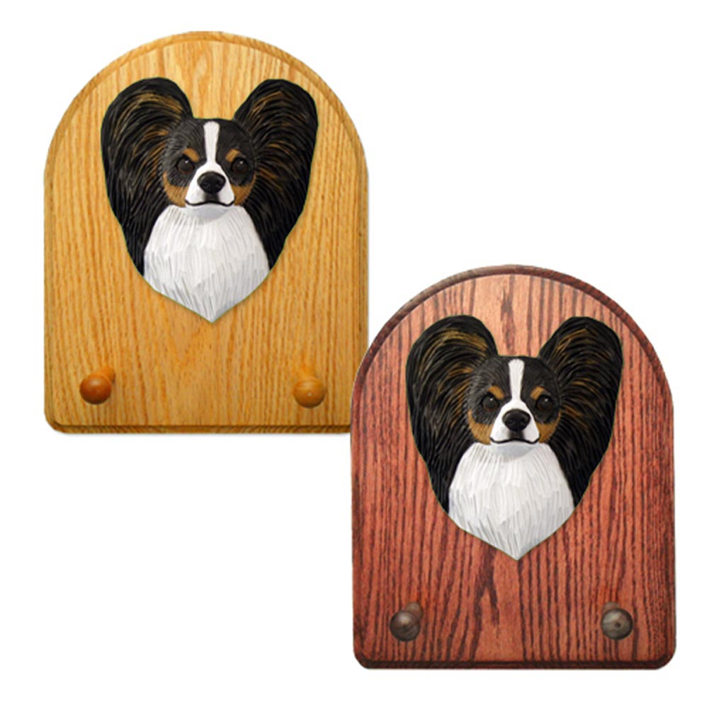 Papillon Dog Wooden Oak Key Leash Rack Hanger Tri