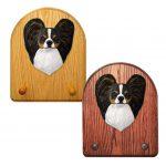 Papillon Dog Wooden Oak Key Leash Rack Hanger Tri