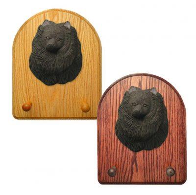 Pomeranian Dog Wooden Oak Key Leash Rack Hanger Black 1