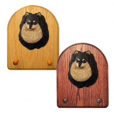 Pomeranian Dog Wooden Oak Key Leash Rack Hanger Black/Tan 1