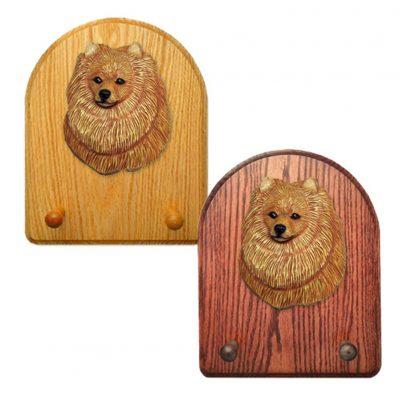 Pomeranian Dog Wooden Oak Key Leash Rack Hanger Orange 1