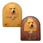 Poodle Dog Wooden Oak Key Leash Rack Hanger Apricot 1