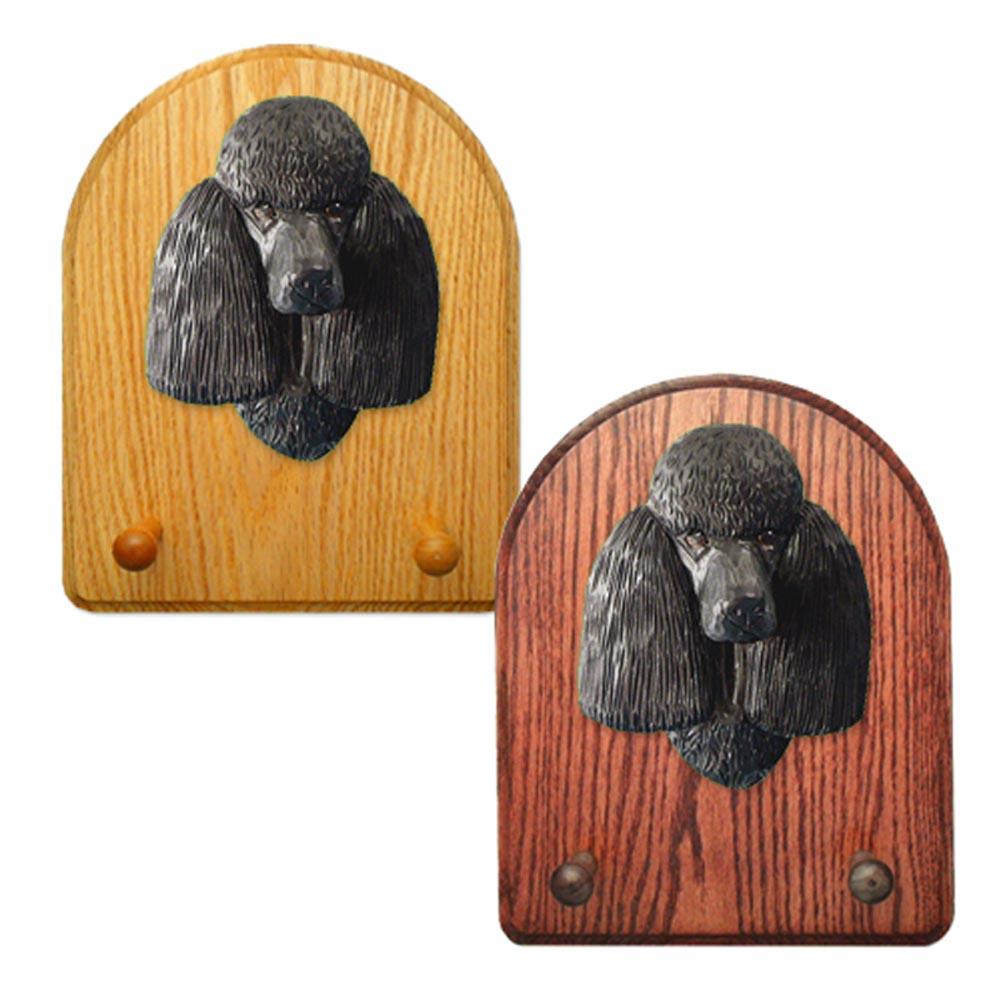 Poodle Dog Wooden Oak Key Leash Rack Hanger Black