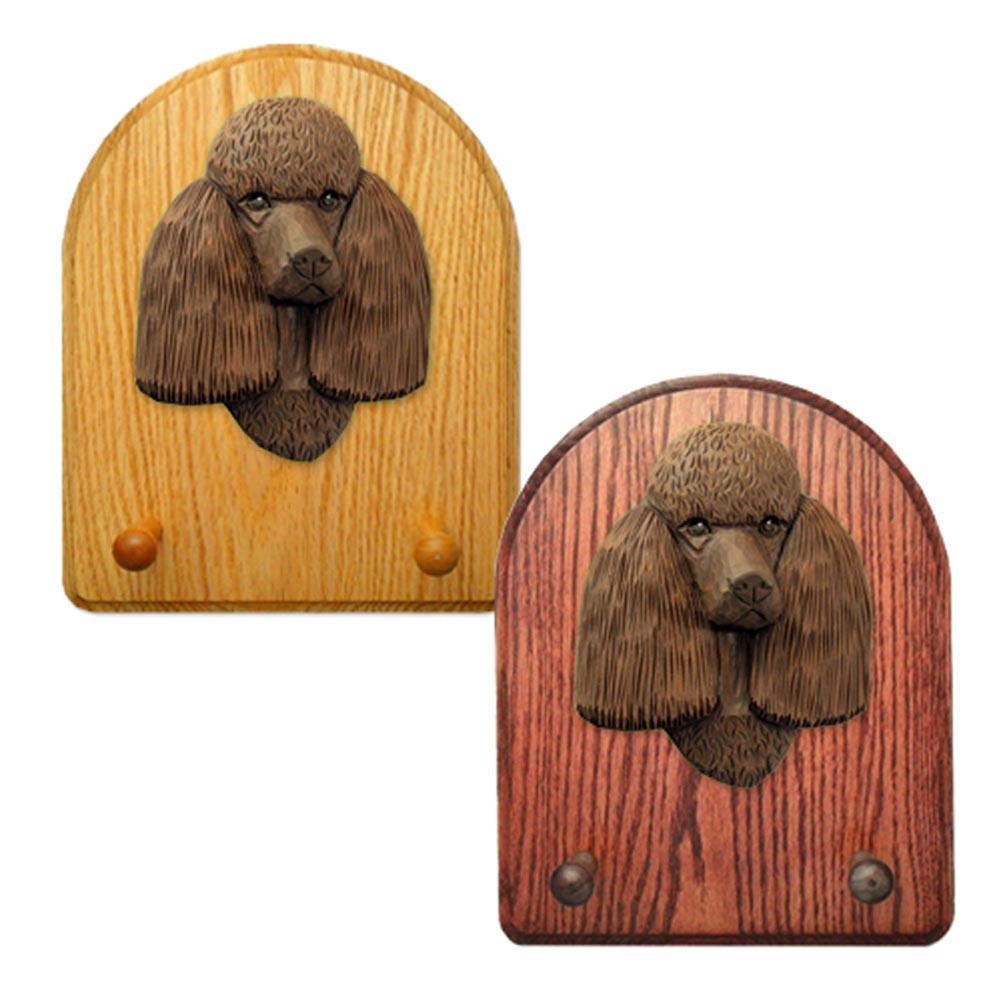 Poodle Dog Wooden Oak Key Leash Rack Hanger Brown