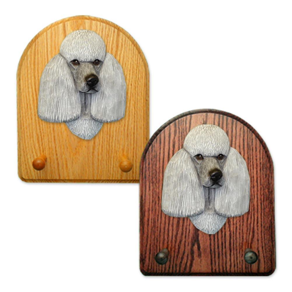 Poodle Dog Wooden Oak Key Leash Rack Hanger Grey