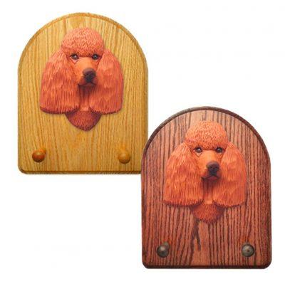 Poodle Dog Wooden Oak Key Leash Rack Hanger Red 1