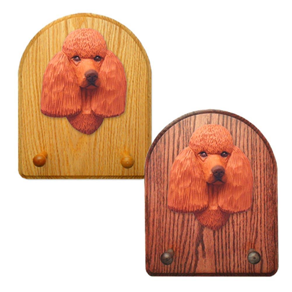Poodle Dog Wooden Oak Key Leash Rack Hanger Red