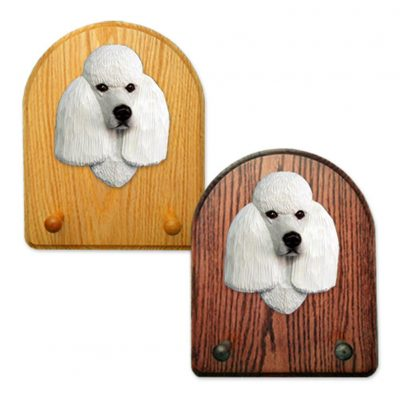 Poodle Dog Wooden Oak Key Leash Rack Hanger White 1