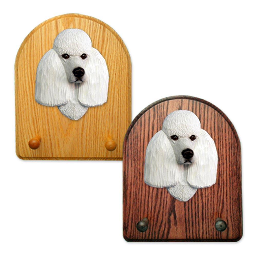 Poodle Dog Wooden Oak Key Leash Rack Hanger White