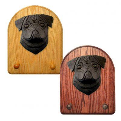 Pug Dog Wooden Oak Key Leash Rack Hanger Black 1