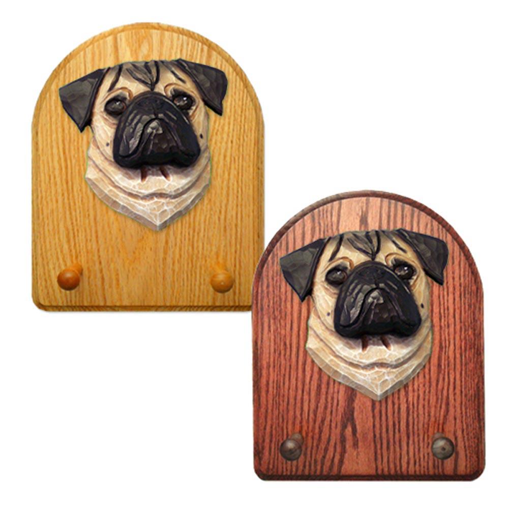 Pug Dog Wooden Oak Key Leash Rack Hanger Fawn