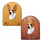 Rat Terrier Dog Wooden Oak Key Leash Rack Hanger Red