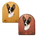 Rat Terrier Dog Wooden Oak Key Leash Rack Hanger Tri