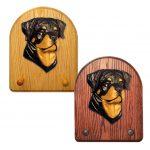 Rottweiler Dog Wooden Oak Key Leash Rack Hanger