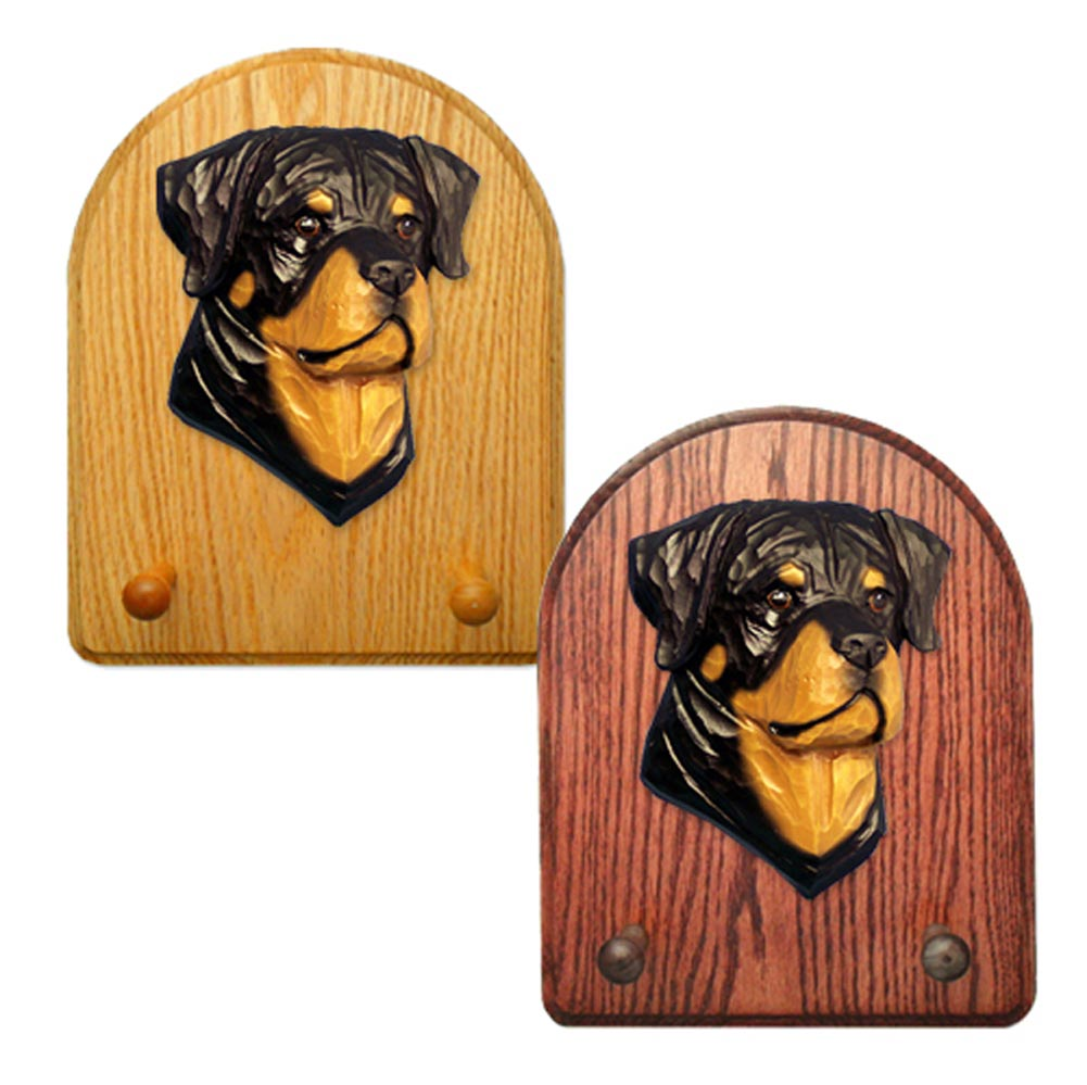 Rottweiler Dog Wooden Oak Key Leash Rack Hanger