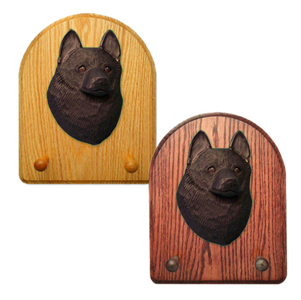 Schipperke Dog Wooden Oak Key Leash Rack Hanger