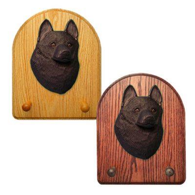 Schipperke Dog Wooden Oak Key Leash Rack Hanger