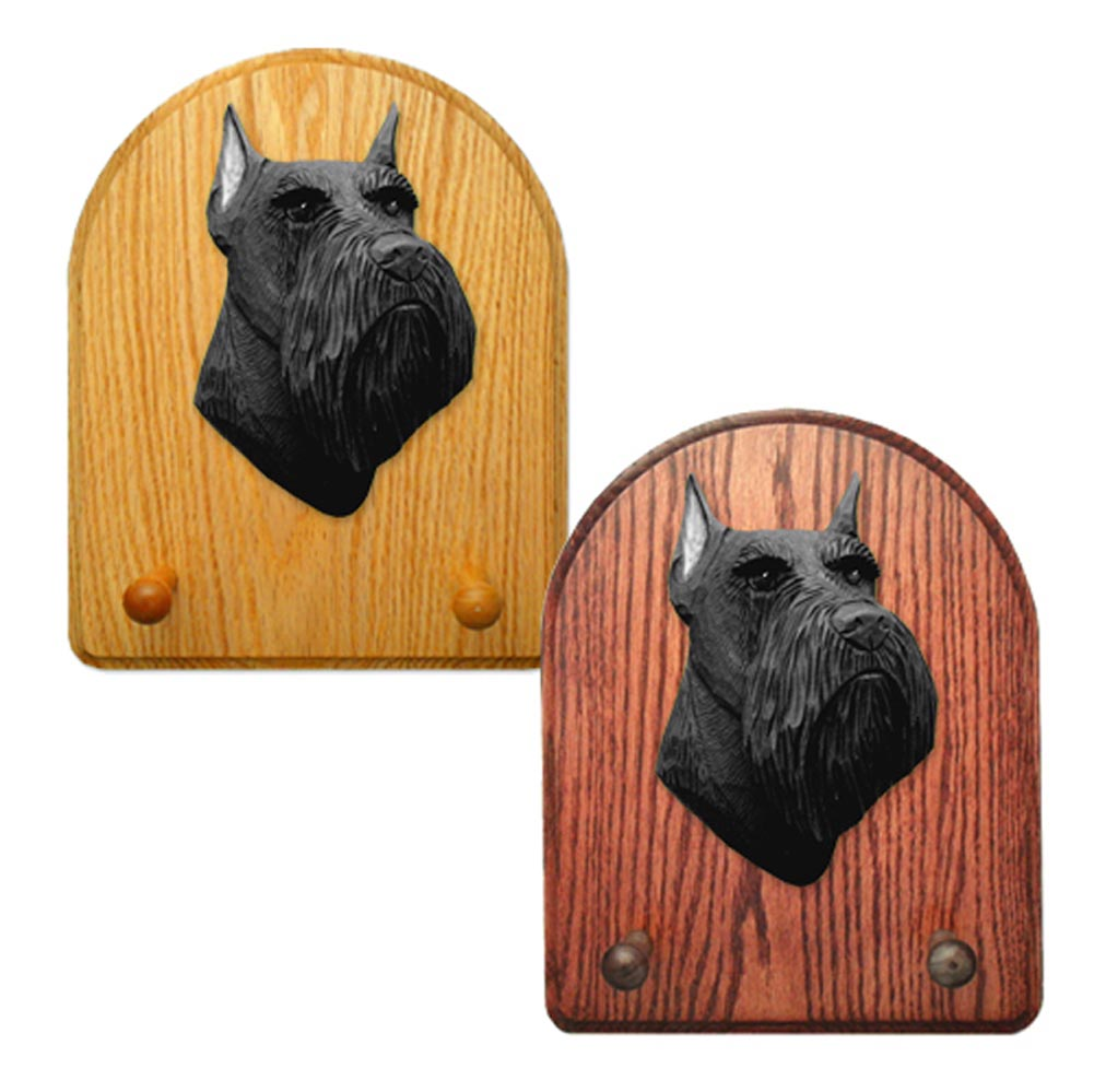 Schnauzer Miniature Dog Wooden Oak Key Leash Rack Hanger Black