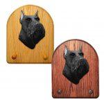 Schnauzer Miniature Dog Wooden Oak Key Leash Rack Hanger Black