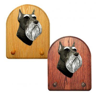 Schnauzer Miniature Dog Wooden Oak Key Leash Rack Hanger Black/Silver 1