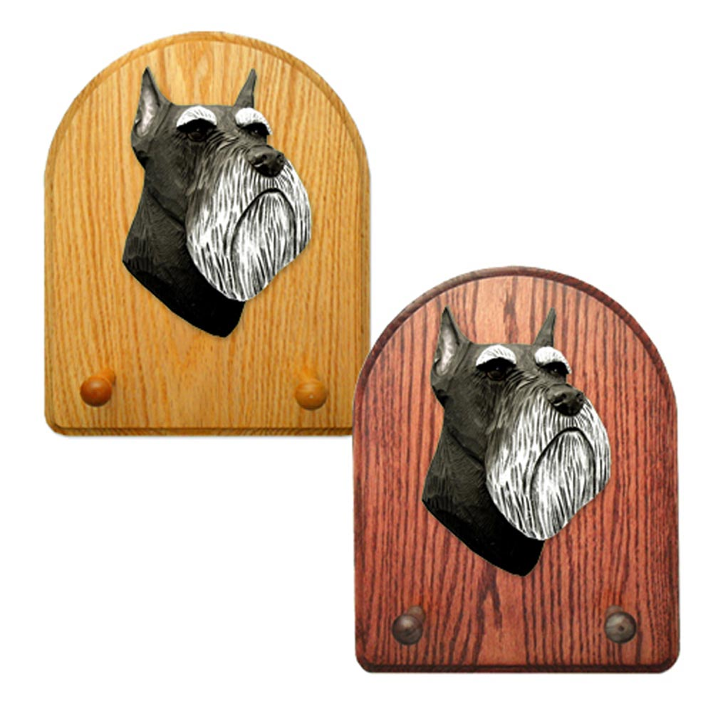 Schnauzer Miniature Dog Wooden Oak Key Leash Rack Hanger Black/Silver