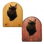 Schnauzer Dog Wooden Oak Key Leash Rack Hanger Black 1