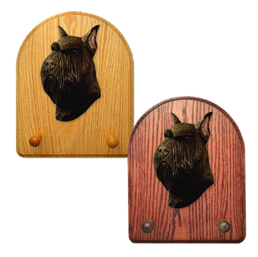 Schnauzer Dog Wooden Oak Key Leash Rack Hanger Black