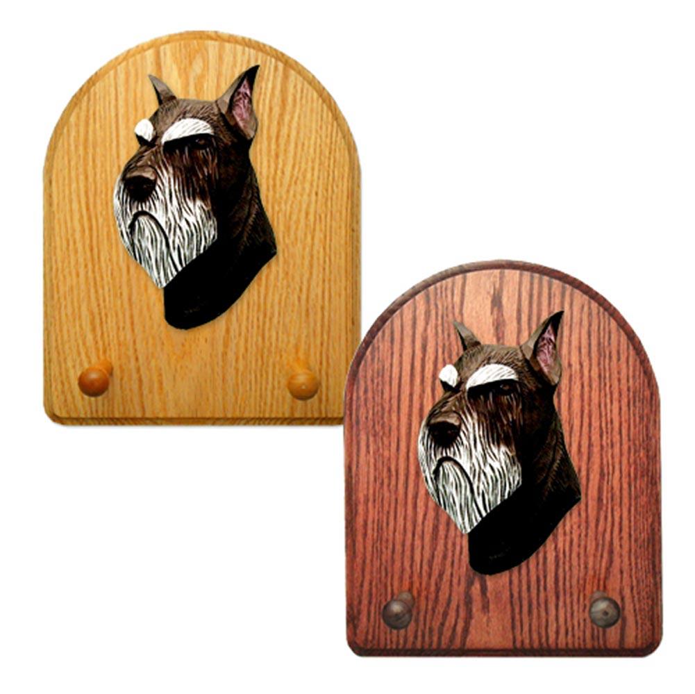 Schnauzer Dog Wooden Oak Key Leash Rack Hanger Black/Silver