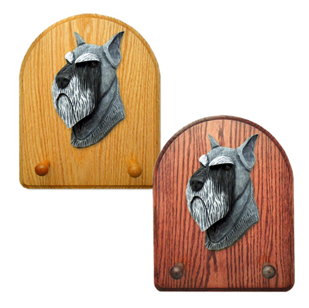 Schnauzer Dog Wooden Oak Key Leash Rack Hanger Salt/Pepper