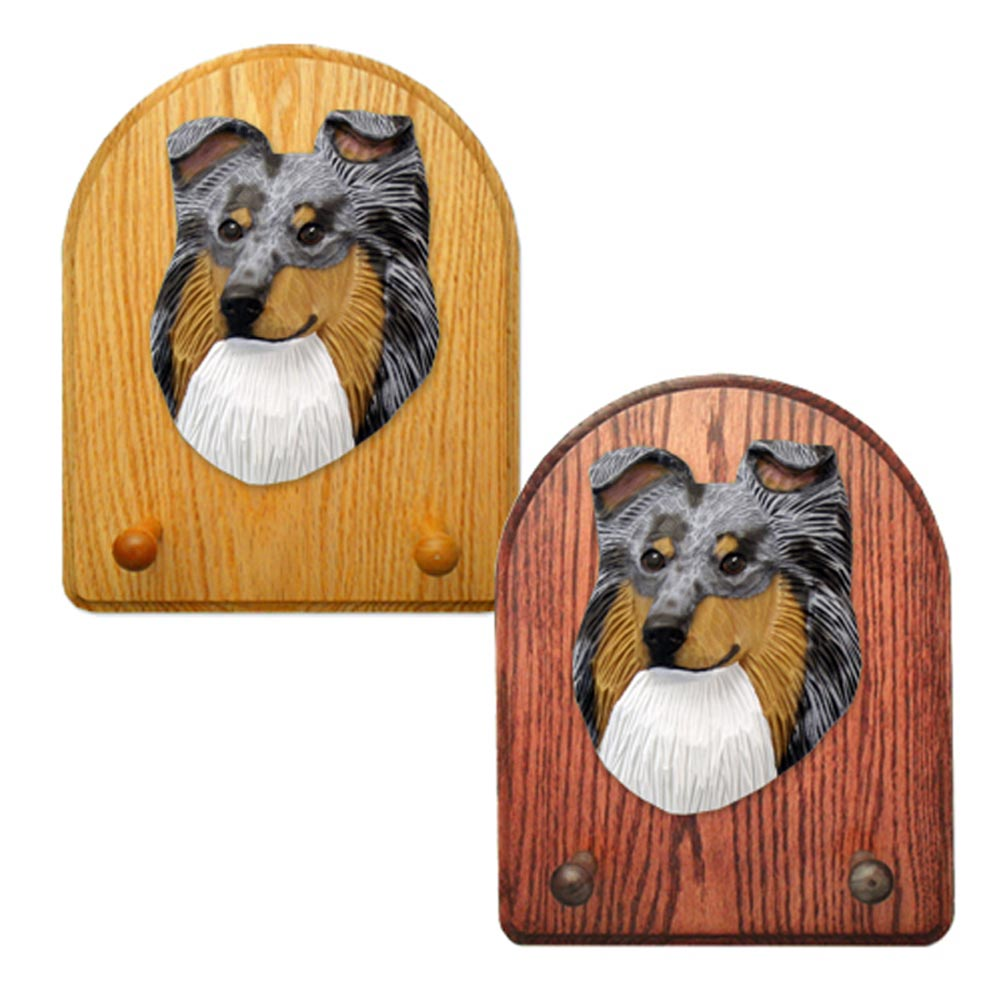 Shetland Sheepdog Dog Wooden Oak Key Leash Rack Hanger Blue Merle