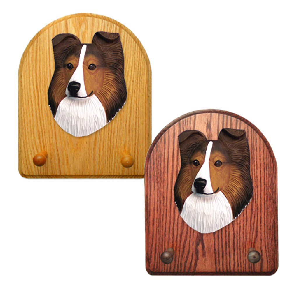 Shetland Sheepdog Dog Wooden Oak Key Leash Rack Hanger Sable
