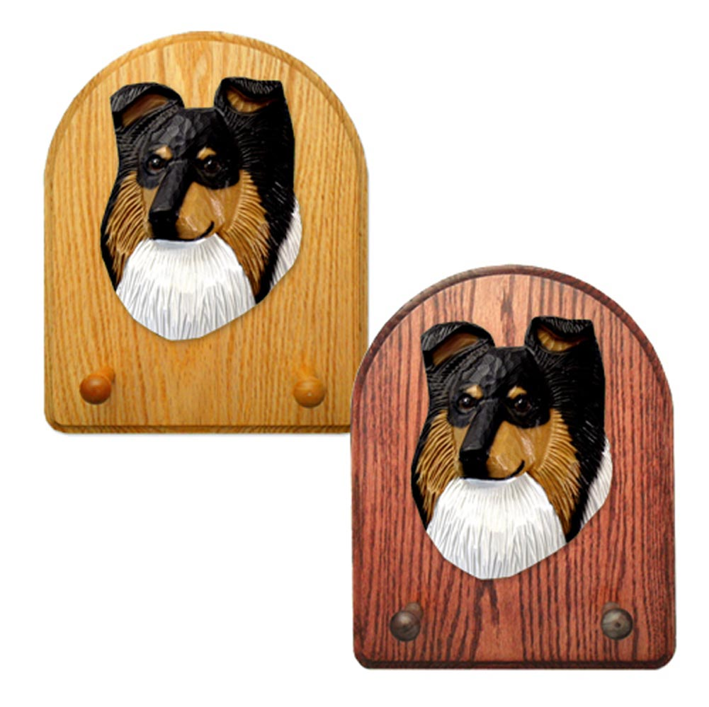 Shetland Sheepdog Dog Wooden Oak Key Leash Rack Hanger Tri