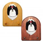 Shih Tzu Dog Wooden Oak Key Leash Rack Hanger Black/White
