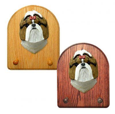 Shih Tzu Dog Wooden Oak Key Leash Rack Hanger Brown/White 1