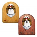Shih Tzu Dog Wooden Oak Key Leash Rack Hanger Gold/White