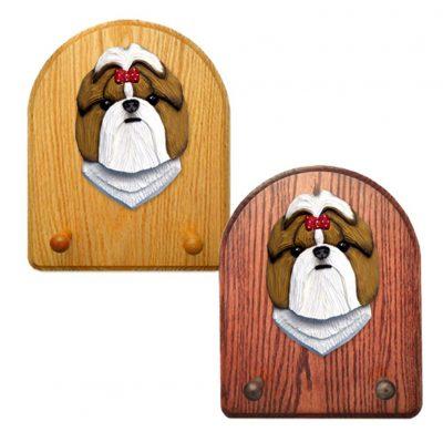 Shih Tzu Dog Wooden Oak Key Leash Rack Hanger Gold/White 1