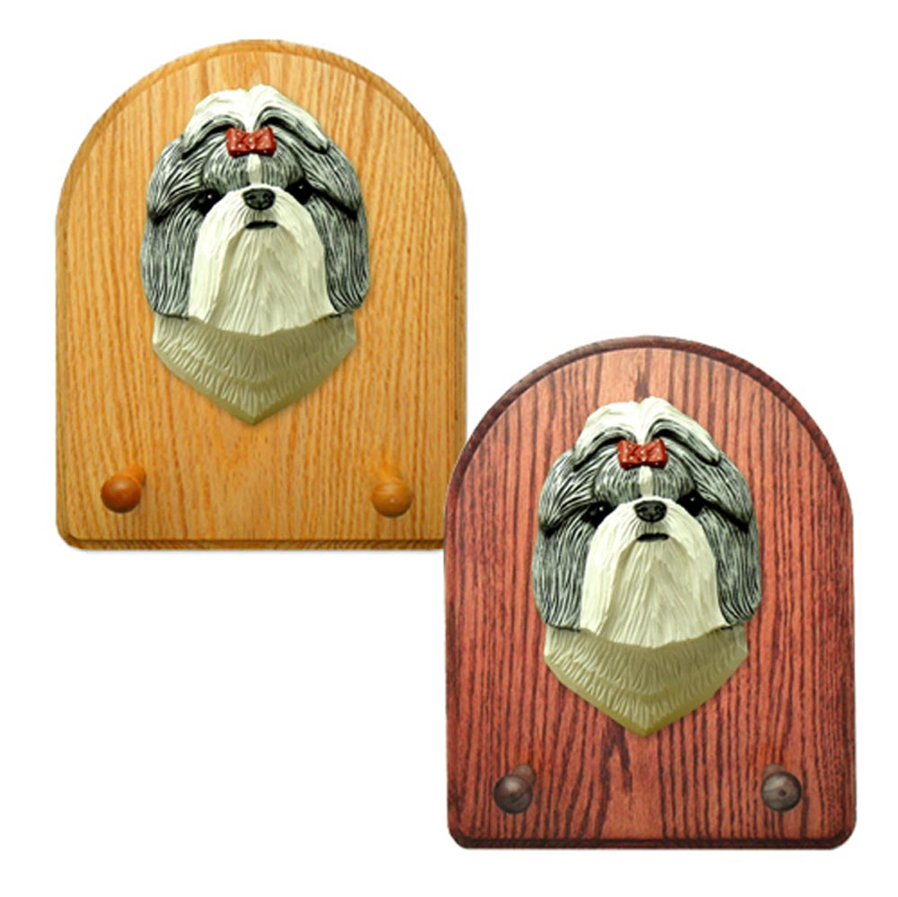 Shih Tzu Dog Wooden Oak Key Leash Rack Hanger SilverWhite