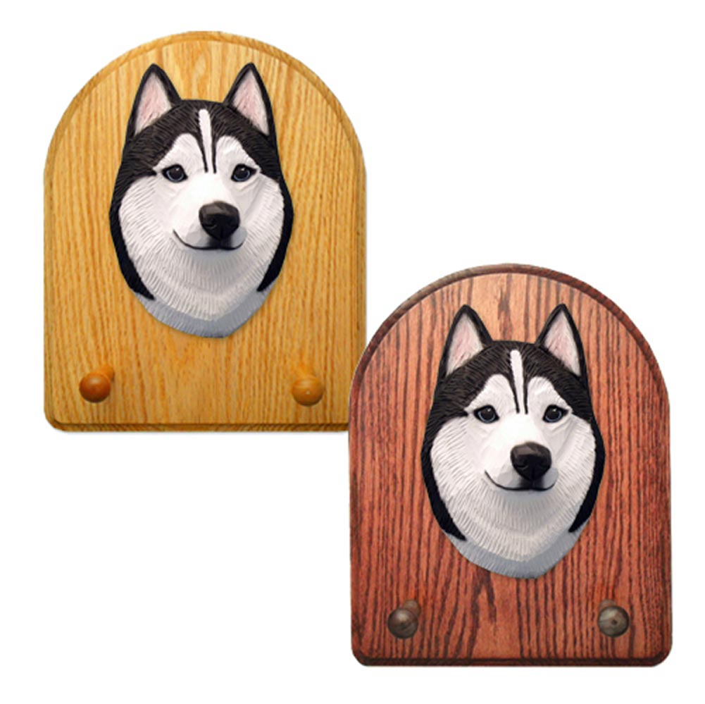 Siberian Husky Dog Wooden Oak Key Leash Rack Hanger Black/White