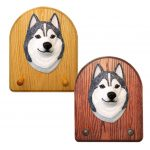 Siberian Husky Dog Wooden Oak Key Leash Rack Hanger Grey/White