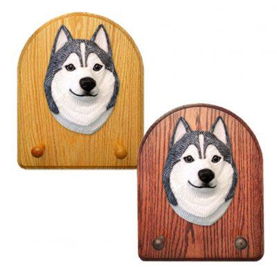 Siberian Husky Dog Wooden Oak Key Leash Rack Hanger Grey/White 1