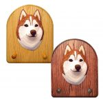 Siberian Husky Dog Wooden Oak Key Leash Rack Hanger Red/White