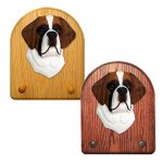 St. Bernard Dog Wooden Oak Key Leash Rack Hanger