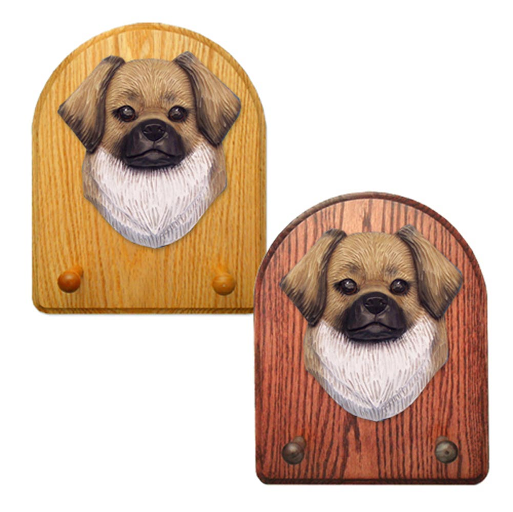 Tibetan Spaniel Dog Wooden Oak Key Leash Rack Hanger Fawn