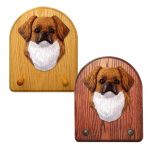 Tibetan Spaniel Dog Wooden Oak Key Leash Rack Hanger Red