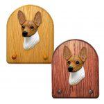 Toy Fox Terrier Dog Wooden Oak Key Leash Rack Hanger Red/White