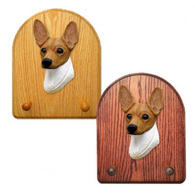 Toy Fox Terrier Dog Wooden Oak Key Leash Rack Hanger Red/White 1