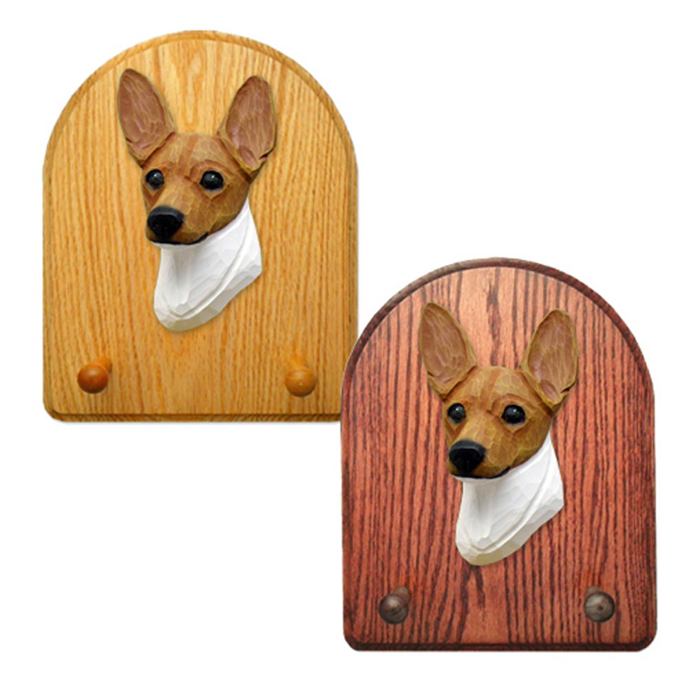 Toy Fox Terrier Dog Wooden Oak Key Leash Rack Hanger Red/White