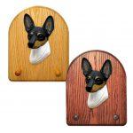 Toy Fox Terrier Dog Wooden Oak Key Leash Rack Hanger Tri
