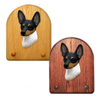 Toy Fox Terrier Dog Wooden Oak Key Leash Rack Hanger Tri 1